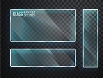 Geplaatste glas transparante banners Vectordieglasplaten met een plaats voor inschrijvingen op transparante achtergrond worden ge Royalty-vrije Stock Afbeelding