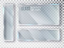 Geplaatste glas transparante banners Vectordieglasplaten met een plaats voor inschrijvingen op transparante achtergrond worden ge Stock Fotografie