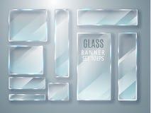 Geplaatste glas transparante banners Vectordieglasplaten met een plaats voor inschrijvingen op transparante achtergrond worden ge Stock Afbeeldingen