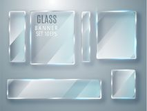 Geplaatste glas transparante banners Vectordieglasplaten met een plaats voor inschrijvingen op transparante achtergrond worden ge Royalty-vrije Stock Foto