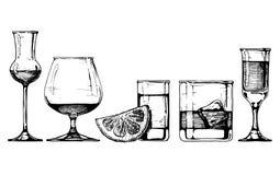 Geplaatste glazendrinkbekers vector illustratie