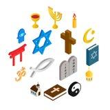 Geplaatste godsdienst isometrische 3d pictogrammen royalty-vrije illustratie