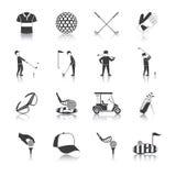 Geplaatste golf Zwarte Witte Pictogrammen Royalty-vrije Stock Foto's