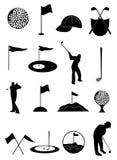 Geplaatste golfpictogrammen Stock Foto's