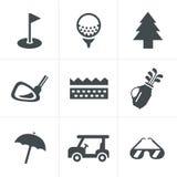 Geplaatste golfpictogrammen Royalty-vrije Stock Foto's