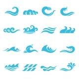Geplaatste golvenpictogrammen Stock Foto's