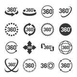 360 Geplaatste graadpictogrammen Vector Stock Afbeelding