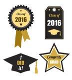 Geplaatste graduatieemblemen Zwart goud, Klasse van 2016 Stock Afbeeldingen