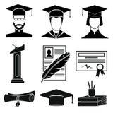 Geplaatste graduatiepictogrammen Royalty-vrije Stock Afbeeldingen
