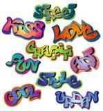 Geplaatste graffitiwoorden Royalty-vrije Stock Foto's