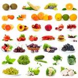 Geplaatste groenten en vruchten Stock Afbeeldingen