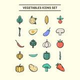 geplaatste groentenpictogrammen Stock Afbeeldingen