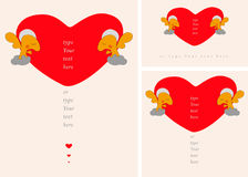 Geplaatste groetkaart of affiche met Engelen die groot Valentine-hart houden Liefde, dank, bewondering, vriendschapsconcept Royalty-vrije Stock Afbeelding