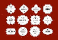 Geplaatste Grunge retro etiketten Stock Foto