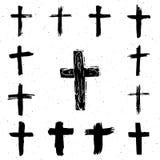 Geplaatste Grungehand getrokken dwarssymbolen Christelijke kruisen, godsdienstige tekenspictogrammen Royalty-vrije Stock Foto