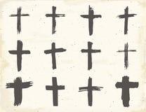 Geplaatste Grungehand getrokken dwarssymbolen Christelijke kruisen, godsdienstige tekenspictogrammen, de vectorillustratie van he Stock Foto