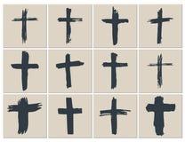 Geplaatste Grungehand getrokken dwarssymbolen Christelijke kruisen, godsdienstige tekenspictogrammen, de vectorillustratie van he Royalty-vrije Stock Foto's