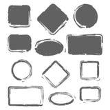 Geplaatste Grungewijnoogst geschilderde vormen Vector illustratie Royalty-vrije Stock Afbeeldingen