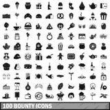 100 geplaatste gulle giftpictogrammen, eenvoudige stijl Stock Fotografie