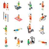 Geplaatste gymnastiekpictogrammen Stock Foto's