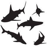 Geplaatste haai vectorsilhouetten stock illustratie
