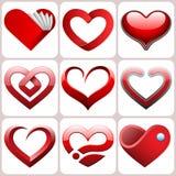 Geplaatste hartpictogrammen Stock Foto's