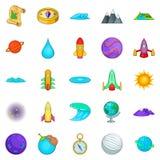 Geplaatste heelalpictogrammen, beeldverhaalstijl Royalty-vrije Stock Afbeeldingen