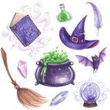 Geplaatste heksen magische attributen royalty-vrije illustratie
