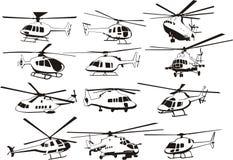 Geplaatste helikopters Stock Foto