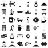 Geplaatste herbergenpictogrammen, eenvoudige stijl Stock Foto's