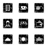 Geplaatste herbergenpictogrammen, grunge stijl Royalty-vrije Stock Foto's