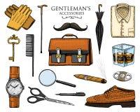 Geplaatste herentoebehoren hipster of zakenman, victorian era gegraveerde hand getrokken wijnoogst brogues, aktentas, overhemd vector illustratie