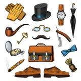 Geplaatste herentoebehoren hipster of zakenman, victorian era gegraveerde hand getrokken wijnoogst brogues, aktentas, overhemd stock illustratie