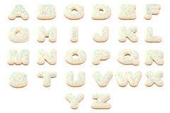 Geplaatste het alfabetlatters van de doughnutdoopvont abc vector illustratie