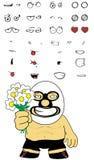Geplaatste het beeldverhaaluitdrukkingen van de bloemen Mexicaanse vechter vector illustratie