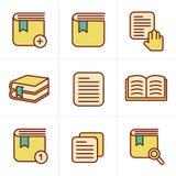 Geplaatste het Boekpictogrammen van de pictogrammenstijl Royalty-vrije Stock Afbeelding