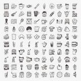 100 geplaatste het elementenpictogrammen van de krabbelkoffie Stock Afbeeldingen
