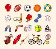 Geplaatste het elementenpictogrammen van de sport Royalty-vrije Stock Foto's