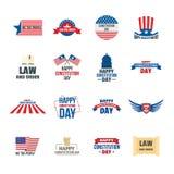 Geplaatste het embleempictogrammen van de V.S. van de grondwetsdag, vlakke stijl royalty-vrije illustratie