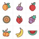 Geplaatste het Fruitpictogrammen van de pictogrammenstijl Royalty-vrije Stock Afbeelding