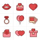 Geplaatste het Huwelijkspictogrammen van de pictogrammenstijl Stock Foto's