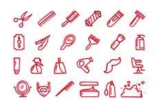 Geplaatste het kappenhand getrokken pictogrammen Stock Afbeeldingen