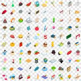 100 geplaatste het levenspictogrammen, isometrische 3d stijl Royalty-vrije Stock Afbeeldingen
