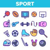 Geplaatste het Materiaal Lineaire Vectorpictogrammen van sportenspelen vector illustratie
