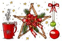Geplaatste het ontwerpelementen van de Kerstmisvakantie royalty-vrije illustratie