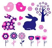 Geplaatste het ontwerpelementen van de lente en van Pasen (vector) Stock Fotografie