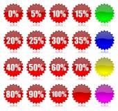 Geplaatste het percentagepictogrammen van de korting vector illustratie
