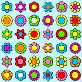Geplaatste het pictogram van de bloem - achtergrond Stock Afbeeldingen