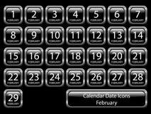Geplaatste het Pictogram van de kalender - Februari Royalty-vrije Stock Foto's