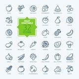 Geplaatste het pictogram van het overzichtsweb - Fruit en Groenten Stock Afbeeldingen